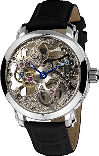 LOUIS XVI Herren-Armbanduhr Versailles Silber Handaufzug Automatik Skeleton Analog echtes Leder Schwarz 334
