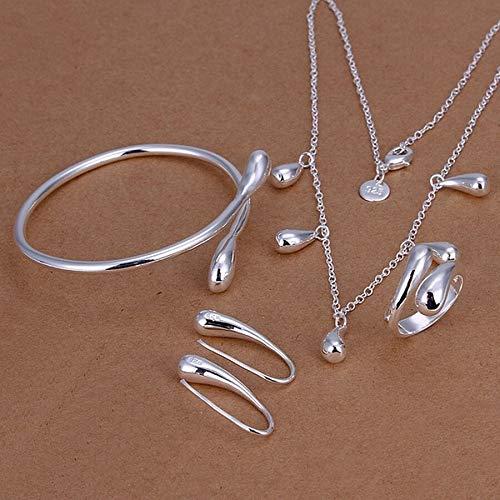 Boilyo Fine 925 Juegos de joyería de Plata Femenina Lady Women Drops Drops Anillos Pendientes Pendientes Brazaletes Collar Joyería de Moda Set219