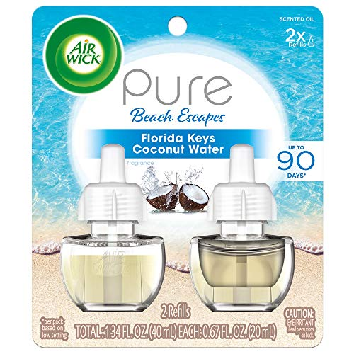 Air Wick Pure Scented Oil 2 Refills, Florida Keys Coconut Water, (2x0.67oz), Air Freshener
