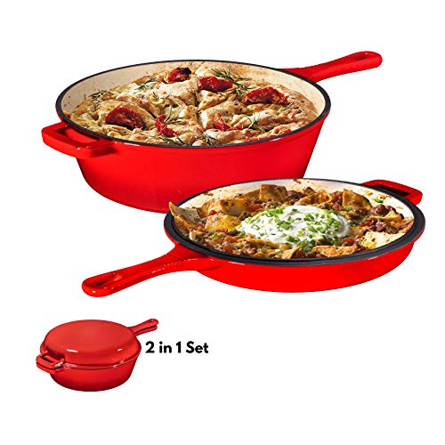 Enameled 2-In-1 Cast Iron Multi-Cooker By Bruntmor – Heavy Duty 3 Quart Skillet and Lid Set, Versatile Healthy Design, Non-Stick Kitchen Cookware, Use As Dutch Oven Frying Pan Covered Oval Saute Pan