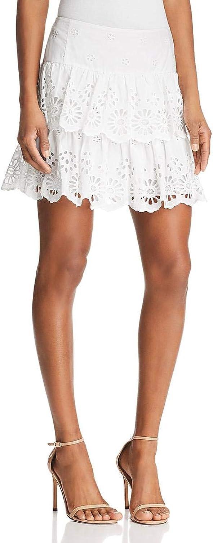 Rebecca Minkoff Womens Eyelet Ruffled Mini Skirt