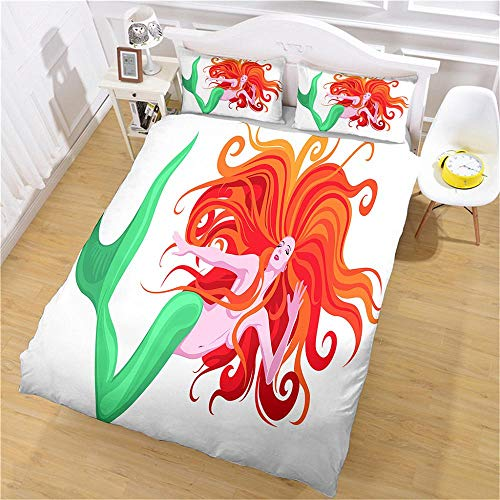 PERFECTPOT Duvet Cover Set King Size Redhead Mermaid Bedding Set with Zipper Closure Hypoallergenic Microfiber Quilt Cover Sets 230x220 cm with 2 Pillowcases 50x75cm