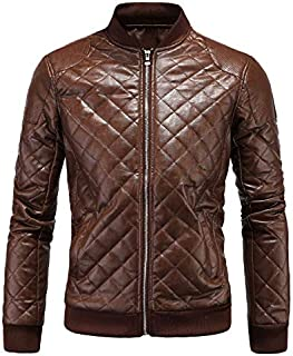 Aowofs Winter Men's Leather British Collar Men's Diamond Leather Jacket Leather Jacket