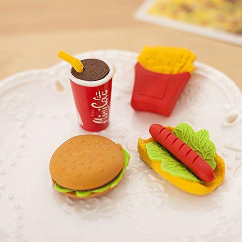 6PCS/Pack Mignon Wallet Lebensmittel Radiergummis zu Effeuiller Hamburger Französisch Pommes frites Hot Dog Sandwich Radiergummi Büro Studie Korrektur Lieferungen für Studenten OL