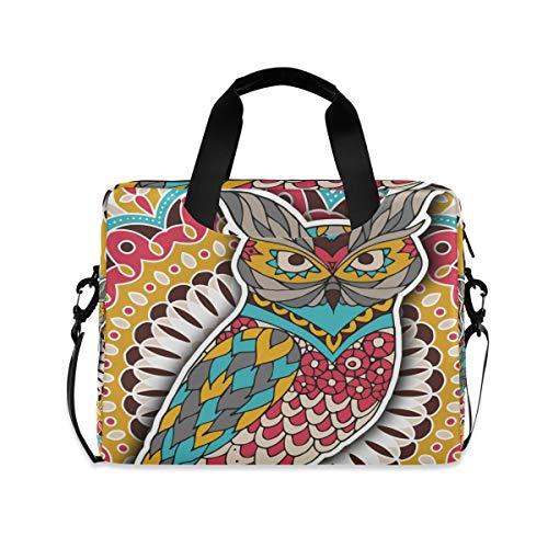 iRoad 15,6 Zoll Laptop Tasche Case Indian Tribal Eule Blume Computer Hülle Laptop Sleeve Case mit Schultergurt Tasche für Damen Herren