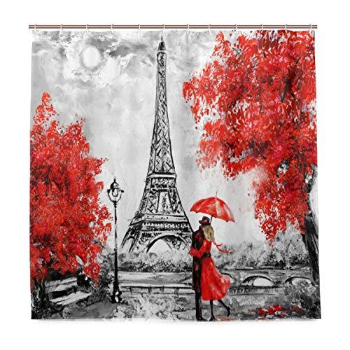 TropicalLife LUCKYEAH Paris Eiffelturm Regenschirm Ahorn Duschvorhang Haushalt Wasserdicht Dekorative Badezimmer Gardinen mit Haken für Zuhause Hotel 180 x 180 cm Tropfen