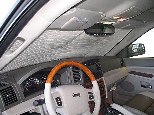 HeatShield, The Original Windshield Sun Shade, Custom-Fit for Jeep Grand Cherokee SUV 2005, 2006, 2007, 2008, 2009, 2010, Silver Series