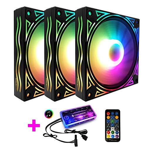 COOLMOON Ventilador RGB de Onda Gigante Ventilador de chasis de 12 cm Computadora de Escritorio Silenciador Sinfonía Que Cambia de Color Ventilador, Controlador (Color : 3 Fan)