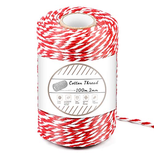 Red and White Cotton String, 100M/328 Feet Cotton Bakers Twine String, Cotton Cord, Gift Wrapping Twine for Baking, DIY Crafts, Home Decoration (2MM)