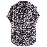 XuanhaFU Camiseta Hombre de Verano,Camisa De Manga Corta con Bolsillo De Leopardo (Azul,M)