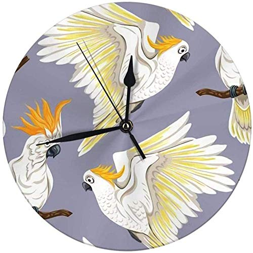 SXXXIT Wall Clock Tropical Birds White Heron Cockatoo Parrot Colored Round Clock