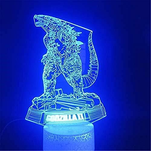 Regalos para niños, lámpara de ilusión 3D Godzilla Bestia de guerra con control táctil, regalos de Navidad cumpleaños para niños