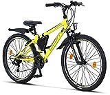 Licorne Bike Premium - Bicicleta de montaña para niña, niño, hombre y mujer, cambios Shimano de 21 velocidades, Unisex adulto, amarillo/negro, 26