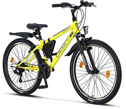 Licorne - Mountain bike per bambini, uomini e donne, con cambio Shimano a 21 marce, Unisex - Adulto, giallo/nero, 26