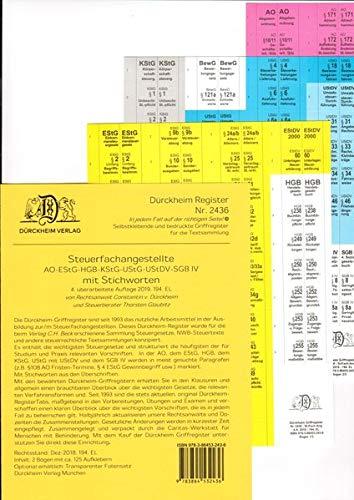 DürckheimRegister STEUERFACHANGESTELLTE mit Stichworten (2020): 120 Registeretiketten (sog. Griffregister) für die STEUERFACHANGESTELLTEN mit ... • In jedem Fall auf der richtigen Seite