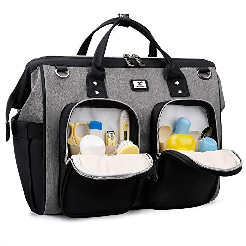 Diaper Bag Tote with Multiple Separate Pockets and Changing Pad (Black with Grey)