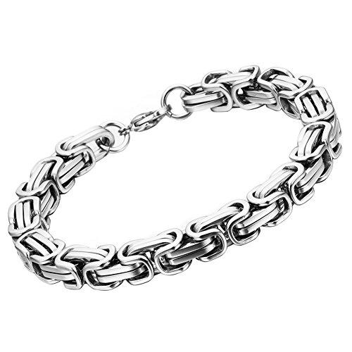 OIDEA Königskette Armband Silber für Herren Edelstahl Herrenarmband Armreif Charmsarmband Armreif Armschmuck Armkette