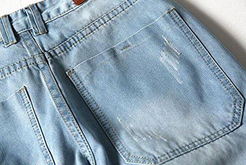 Fashion Men's Summer Light Weight Sky Blue Jean Shorts Brush Denim Capris Short (32, K138)