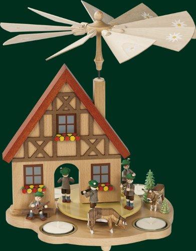 Rudolphs Schatzkiste Weihnachtspyramide Tischpyramide Erzgebirge Richard Glässer Seiffen Hauspyramide Bayern, 16241