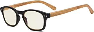 Eyekepper Bamboo-Look Temples UV Protection Reading Glasses,Anti-Reflective Readers (Black Frame, Yellow Tinted Lenses) +1.5