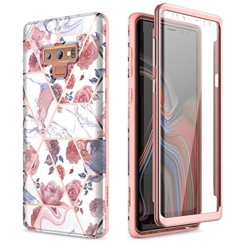 Capa de mármore SURITCH para Samsung Galaxy Note 9, [protetor de tela integrado] Proteção total rígida de policarbonato + capa de borracha macia e brilhante de TPU (poliuretano termoplástico) à prova de choque para Galaxy Note 9 de 6,4 polegadas (mármore rosa)