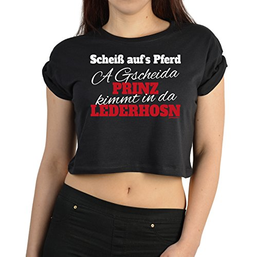 Grappig damesshirt Crop Top voor de volksfeesttijd Scheiß auf het paard Oktoberfest volksfeest 2015 Wiesn Tent Festival Leiberl Kleur: zwart