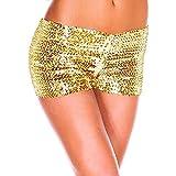 Carnaval Shorts Mujer Elegante Verano Flash Lentejuelas Pantalones Cortos Fashion Fiestas Clubes Joven Bastante Celebración Retro Dance Disfraz Pantalon Corto Women (Color : Amarillo, Size : SG)