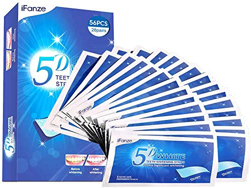 Teeth Whitening Strips, iFanze Non Slip Bleaching Strips, Safe and Fast Tooth Whitening Results Teeth Whitening Kit - 28 Pouches 56pcs