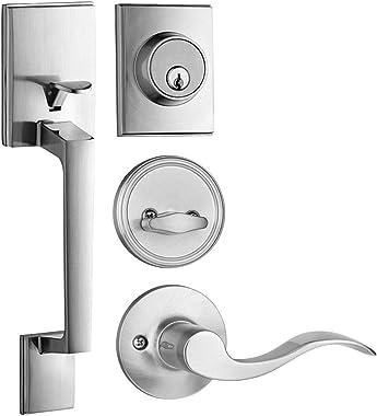 Single Cylinder Modern Handleset Front Door Lock with Wave Style Lever Handle (Satin Nickel)