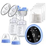 Electric Breast Pump, COULAX Dual Suction Breastfeeding Pump LED Touch Screen with 3