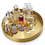 FREELOVE Round Gold Serving Trays, Decorative Tray for Perfume Jewelry Food Coffee Tea Candle, Bath Vanity Counter Bathroom Plate Kitchen Table Platter (Brass, 8 inch)