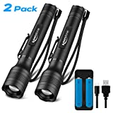 Brightest LED Flashlights Rechargeable 2 Pack, Waterproof 1500 High Lumen Tactical flashlight with 5 Light Modes and Pocket Clip for Emergency, Camping, Hiking (18650 Battery and Charger Included)