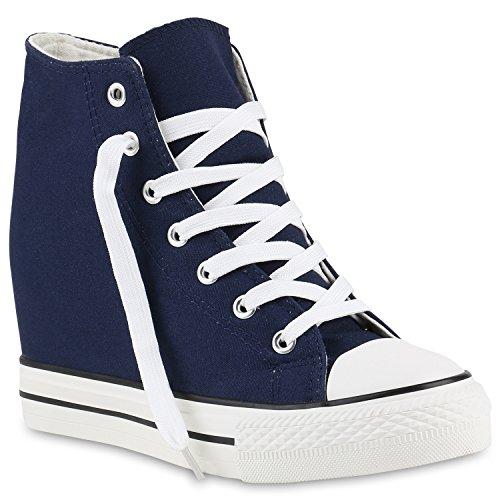 stiefelparadies Damen Sneakers Keilabsatz Sneaker-Wedges Stoffschuhe Schnürer 139812 Dunkelblau Blue 36 Flandell