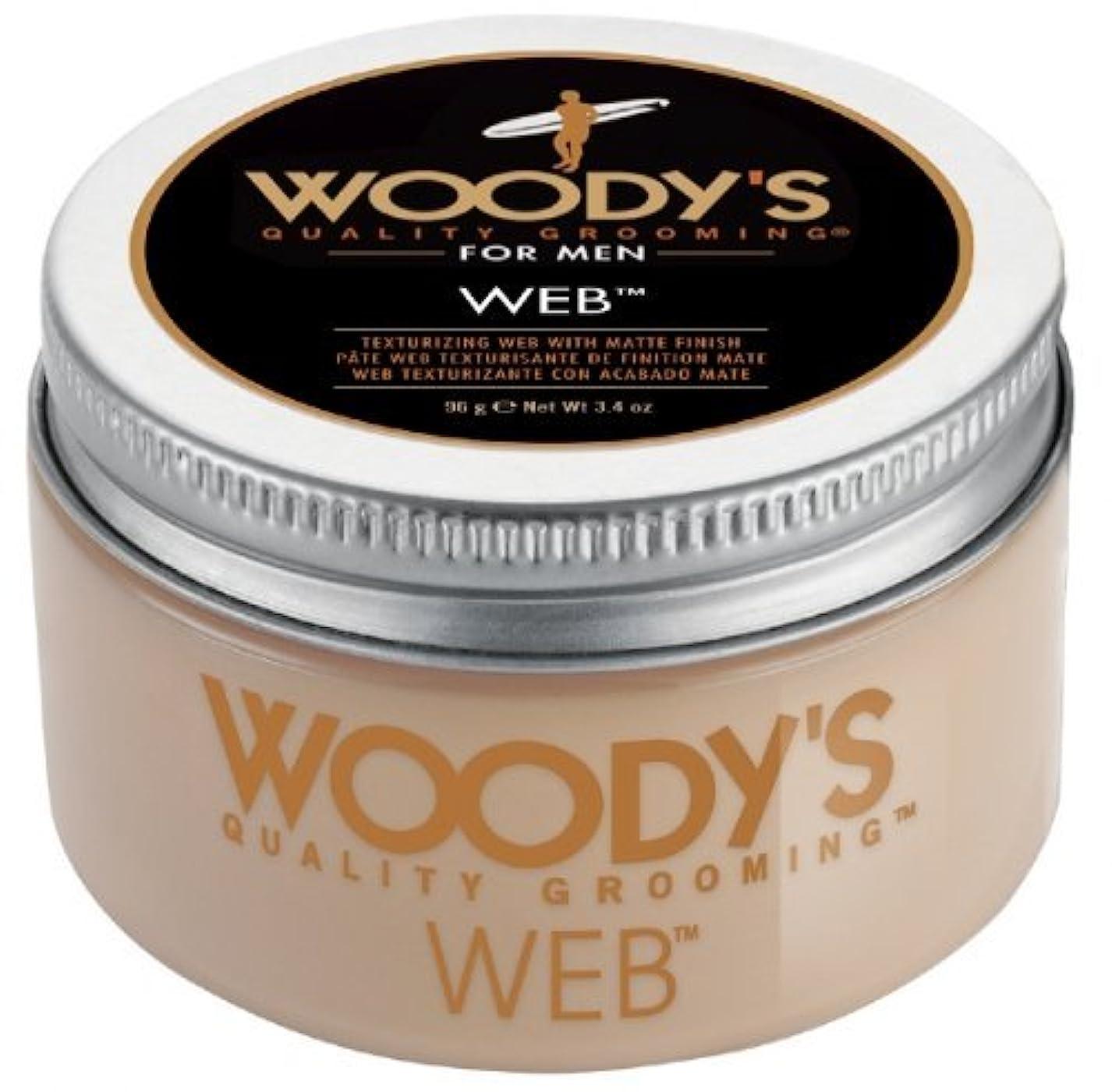 戸棚絵びっくりするWoody's Men Hair Styling Web Pomade Matte Finish Wet Or Dry Hair Cr??me Gel 96g by Woody's [並行輸入品]