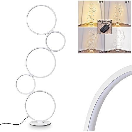 Lampadaire LED Rodekro en métal blanc, lampe design sur pied à intensité variable grâce à l'interrupteur sur le câble, 36 Watt, 3200 Lumen, 3000 Kelvin (blanc chaud)