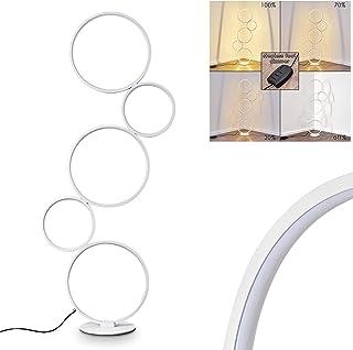 Lampadaire LED Rodekro en métal blanc, lampe design sur pied à intensité variable grâce à l'interrupteur sur le câble, 36 ...