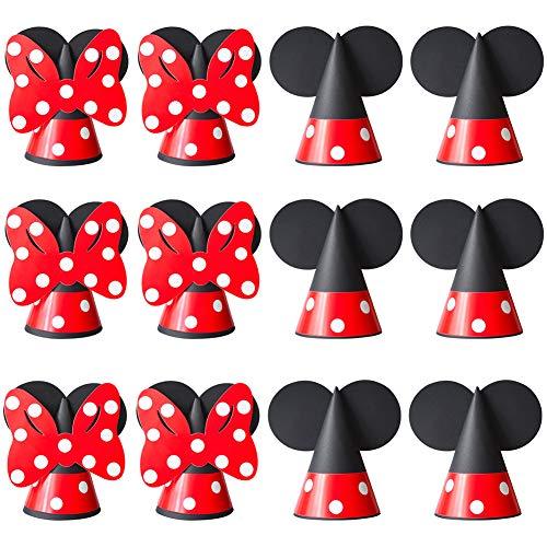 FANDE Partyhüte, 12 Stück Mickey Mouse Geburtstagshut Geburtstag Dekoration Set Geburtstagsfeier Hüte Schöne Party Kegel Hüte für Geburtstag Festival Party