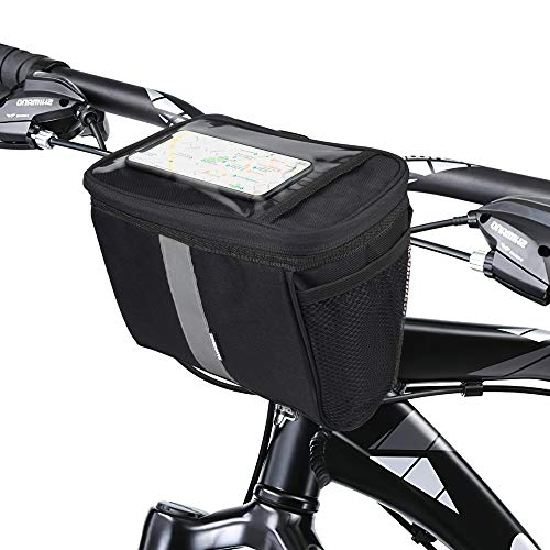 Sporus Bike Basket with Thickened Thermal Aluminum Foil and Waterproof Phone Pouch, Large Capacity Bike Handlebar Bag with Water Bottle Pouch & Reflective Stripes [Black]