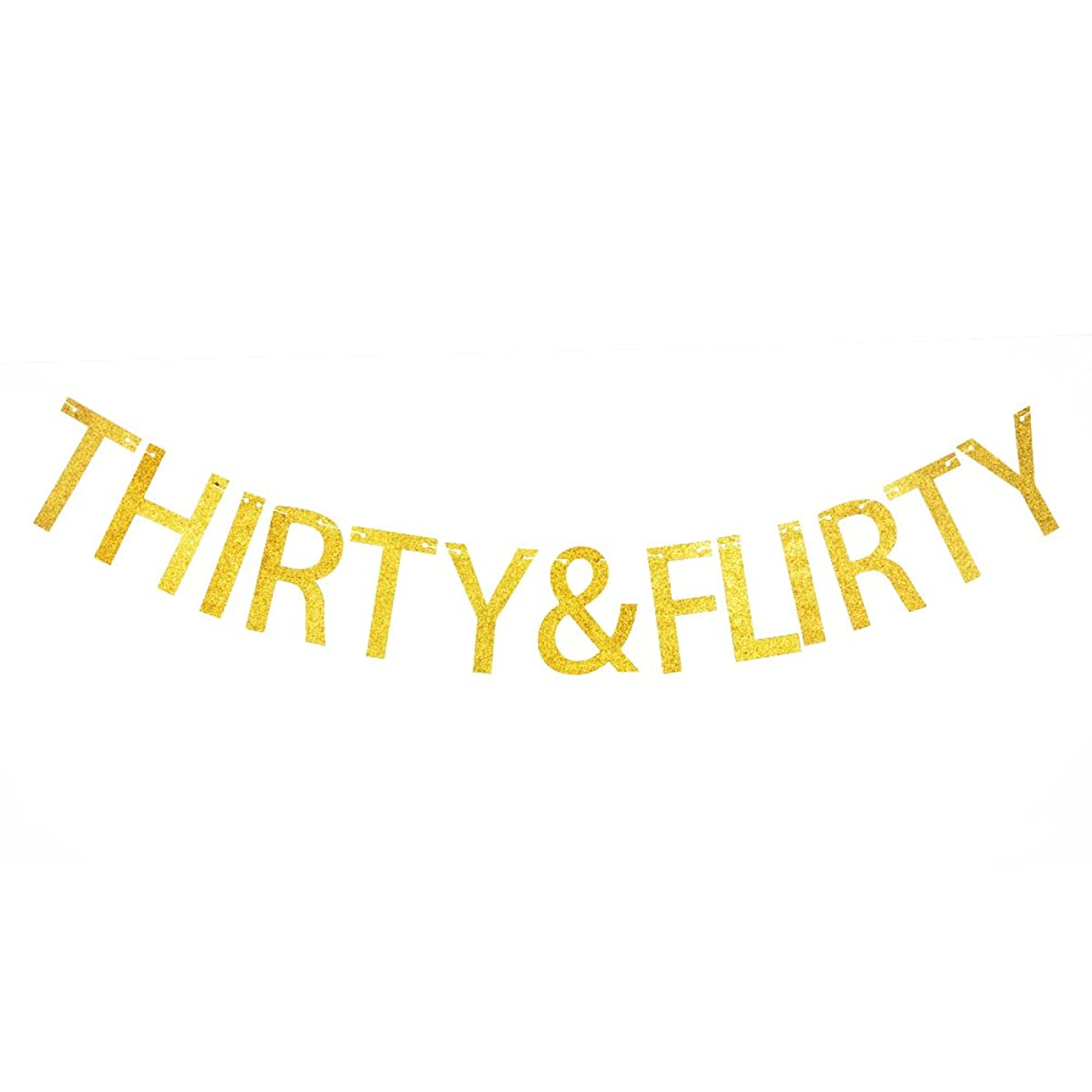 Thirty & Flirty Banner, Funny Gold Glitter Paper Sign fo 30th/30 Years Old Birthday Party Decorations