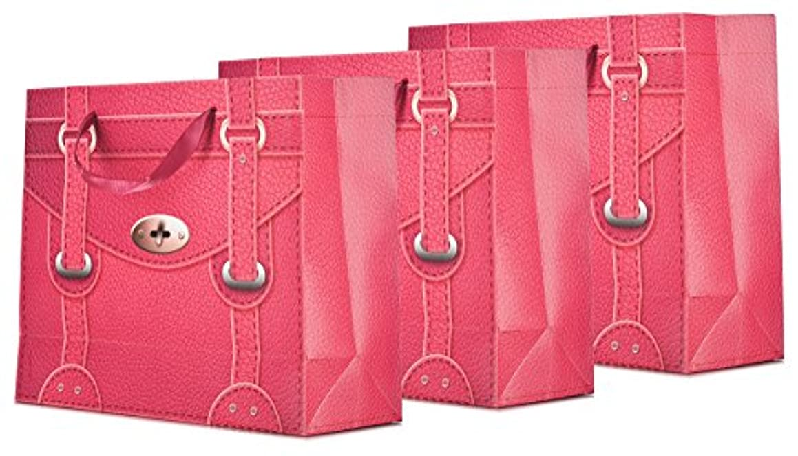 Premium Paper Quality Hand Bags Size Large for Gifts, Weddings, and Party Favors (Pack of 3) Style Raspberry Faux Leather