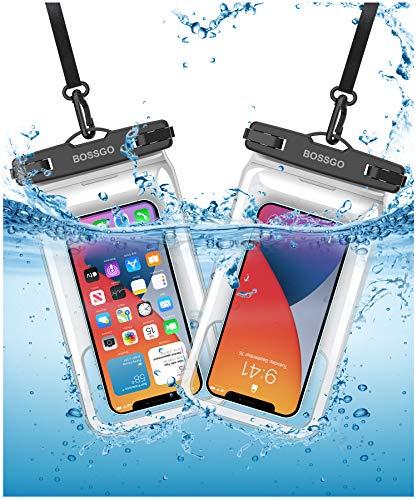 Funda impermeable para teléfono móvil de 7,0 pulgadas (2 unidades), doble sellado, para nadar, bañar y cocinar, iPhone 11/iPhone SE/iPhone 8/Galaxy S20/S10/S9