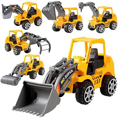 begorey 6pcs Camion Veicolo di Costruzione Spinta ingegneria Giocattolo Auto Bambini Giocattoli per Bambini Moduli sezioni