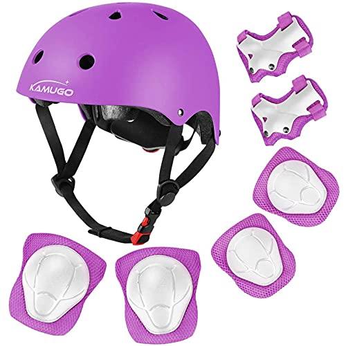 KAMUGO Kids Adjustable Helmet, with Sports Protective Gear Set Knee Elbow Wrist Pads for Toddler Age 3-8 Boys Girls, Bike Skateboard Hoverboard Scooter Rollerblading Helmet Set (Purple)