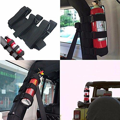 XYZCTEME Fire Extinguisher Holder, ATV/UTV Interior Roll Bar Trim Kit (Black)