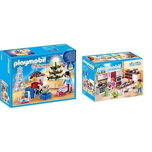 PLAYMOBIL 9495 Spielzeug-Weihnachtliches Wohnzimmer, Unisex-Kinder & 9269 - Große Familienküche