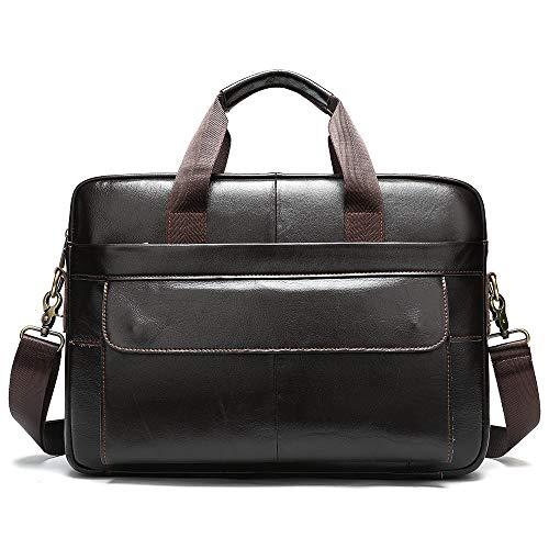 Yi-xir Bolso de piel para hombre, diseño de moda, para portátil, para documentos, oficina, portátil, bolsa de hombro, ligera y duradera (color: marrón, tamaño: A)