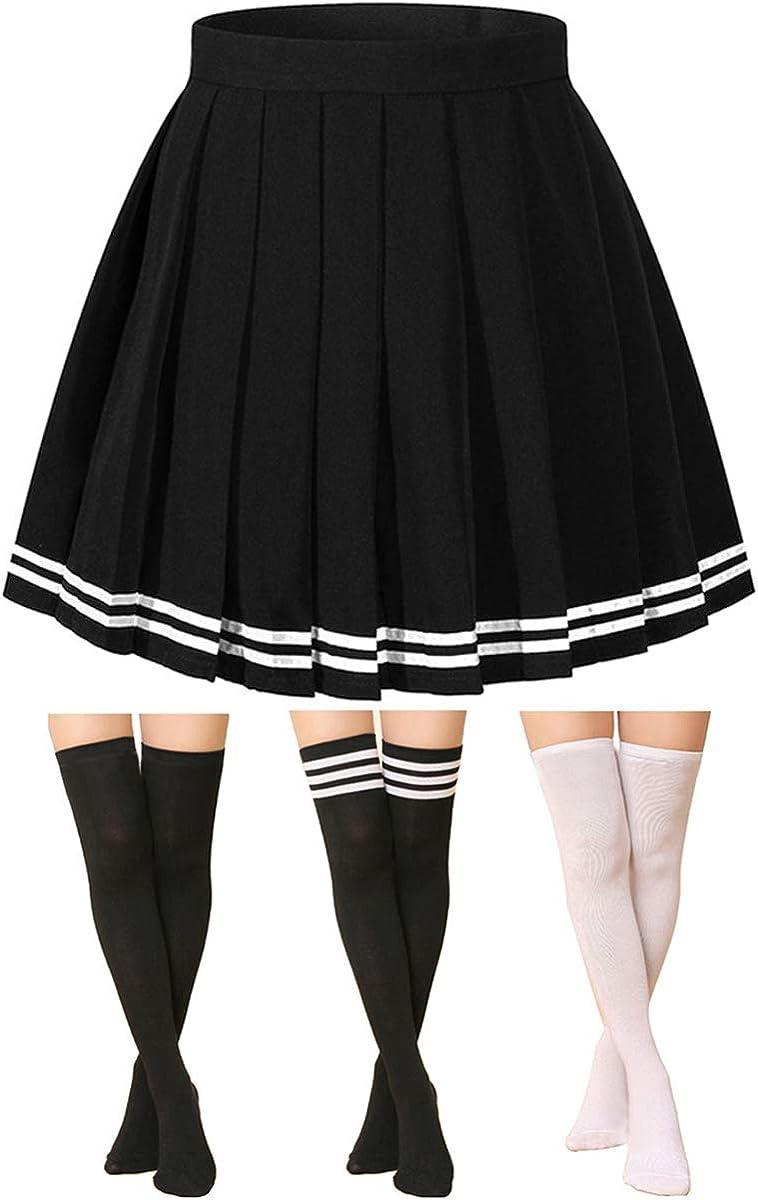 Alliico Women's High Waist Mini Skirt Japan School Skirt With 3 Pairs Socks