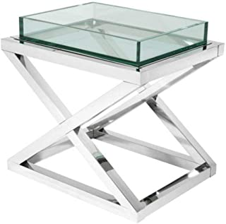 Glass Side Table | EICHHOLTZ Curtis | Glamorous Cocktail Square Stainless Steel x Legged Living Room end Table | Modern Luxury Furniture