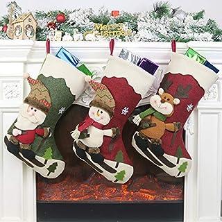 Ausein Calcetín de Navidad 3 pcs,Bolsa de Regalo de Saco de