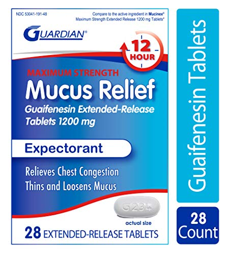Guardian Mucus Relief 12 Hour Extended Release Guaifenesin, 1200mg Maximum Strength, Chest Congestion Expectorant Tablets (28 Count)